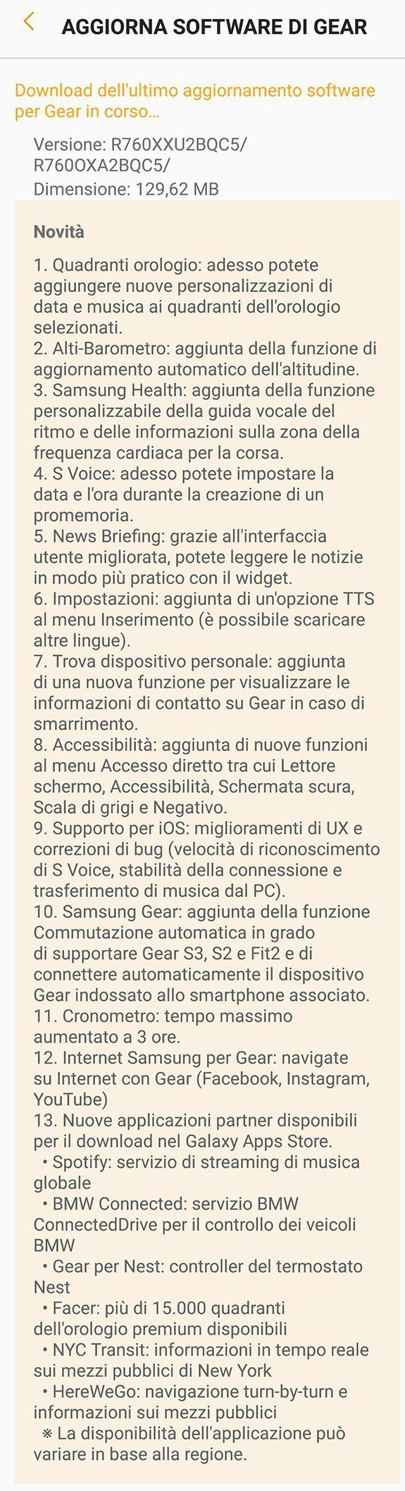 Gear S3 classic e Gear S3 Frontier update