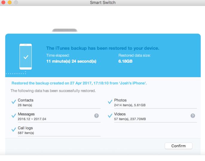 salvare dati iPhone su Galaxy S8