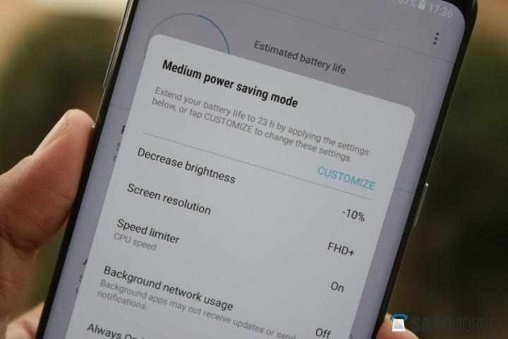Galaxy S8 modalità risparmio energetico