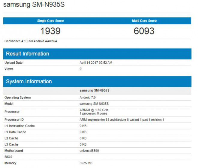 Samsung Galaxy Note 7R Geekbench