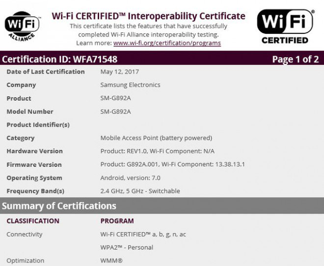 Samsung Galaxy S8 Active Certificazione WiFi
